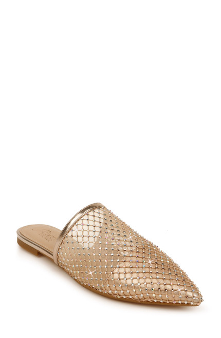 Rose Gold Fraser II Pointed Toe Flat Mule Front