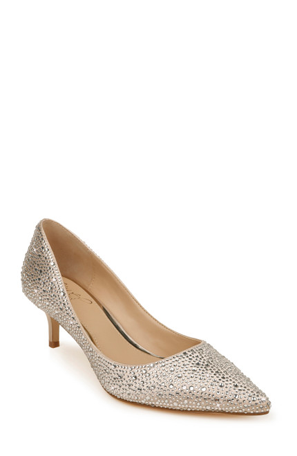 Champagne Frenchie Pointed Toe Kitten Heel Front