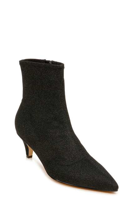 Black Erma Pointed Toe Short Bootie Front