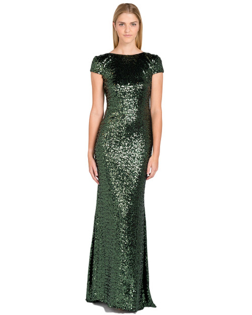 Emerald Capsleeve Sequin Cowl Back Gown Front