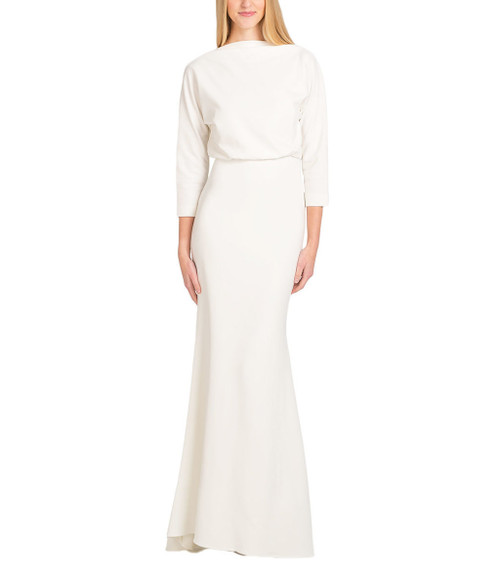 Ivory Blouson Top Micro Rib Evening Gown - Front