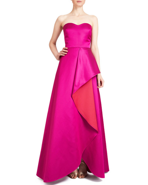 Fuchsia Multi Strapless Double Face Evening Gown front