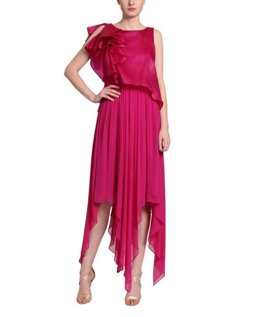 Fuchsia Georgette draped dress front