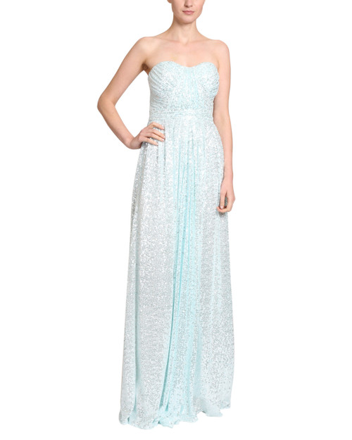 Mint Sequin draped gown front