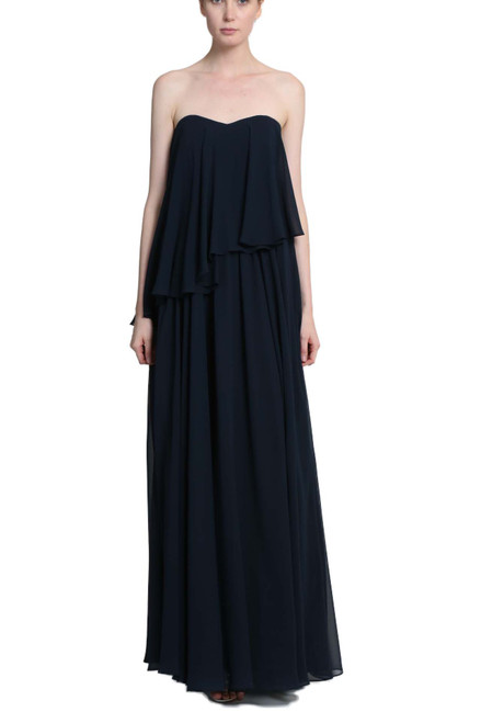 Navy Strapless Georgette Overlay Gown Front