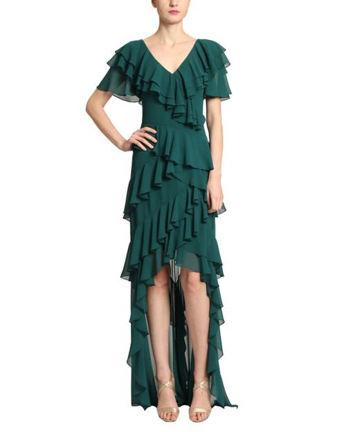 Dark Emerald V-Neck Flutter Ruffle Gown front