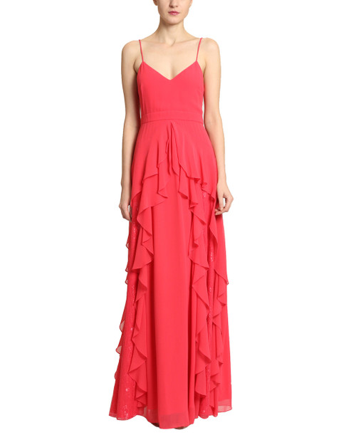 Berry Lace Ruffle Gown front