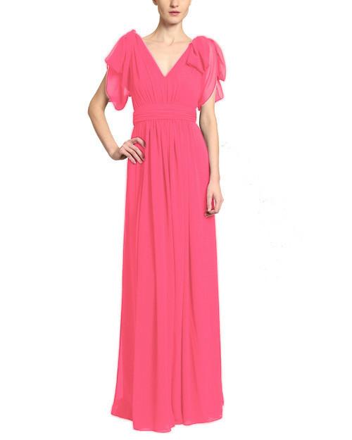 Watermelon Draped Shoulder Georgette Gown front