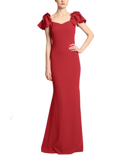 Red Twist Shoulder Detail Gown Front