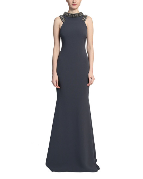 Charcoal Beaded Neckline Racer Gown Front