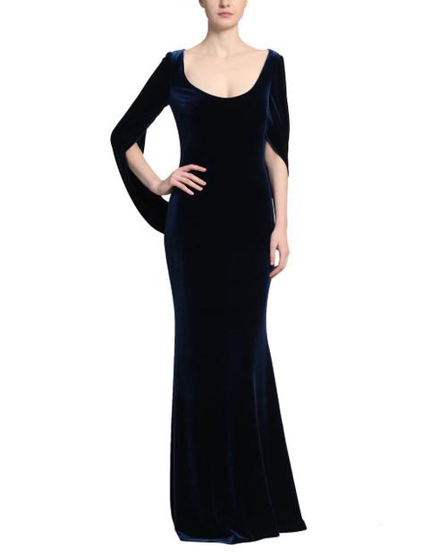 Sapphire Velvet Cowl Sleeve Gown Front