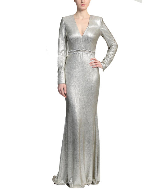 Grey/Gold Long Sleeve Plunge V-Neck Gown front