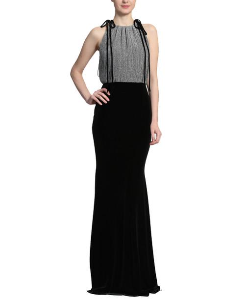 Black/Silver Pleated Lurex Velvet Dress front