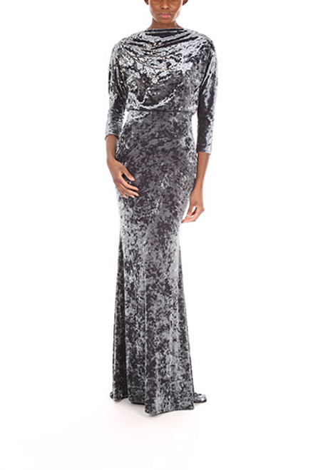 Charcoal Textured Velvet And Beaded It Gown Front