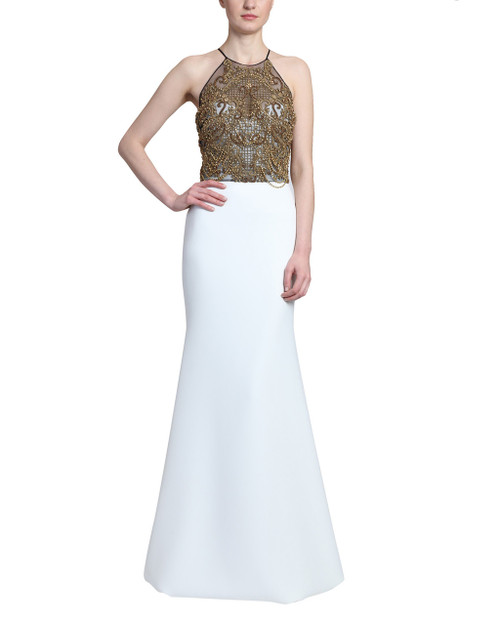 Ivory Gold Beaded Overlay Racer Back Key Hole Ivory Tulle Gown Front