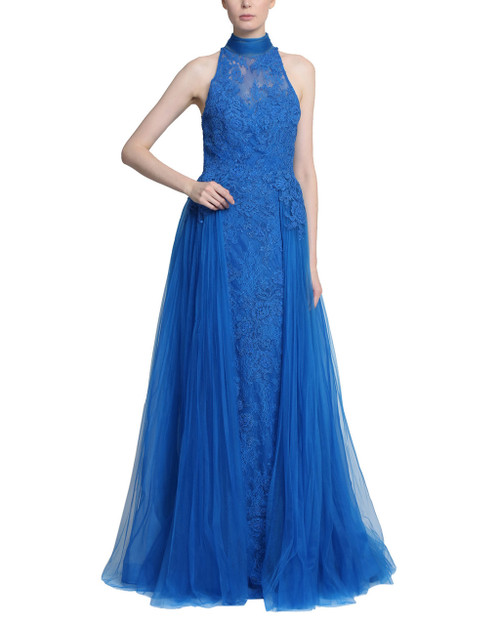Ocean Lace with Tulle sides and back, high neck with long bow closure floor length Gown - Front