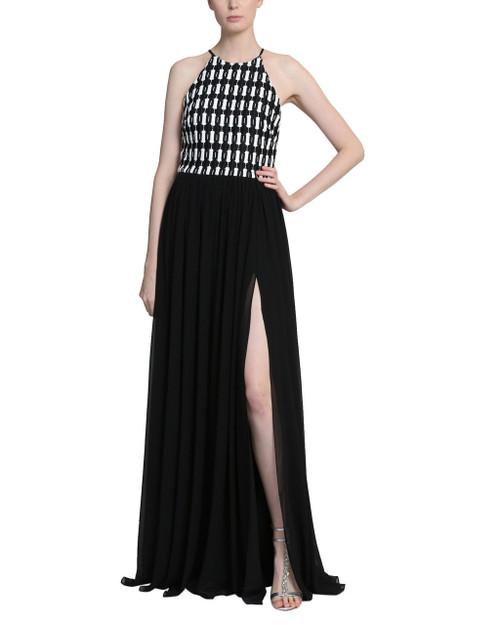 Black Ivory Racer Back Checker Bias Front Slit Floor Length Gown Front