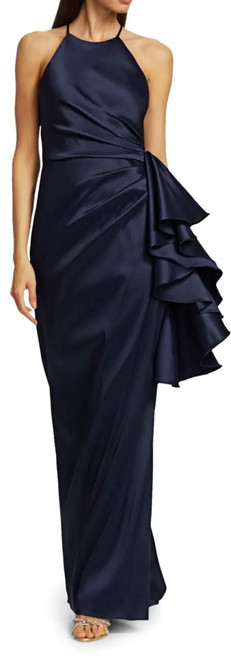 Navy Halter Ruffle Gown Front