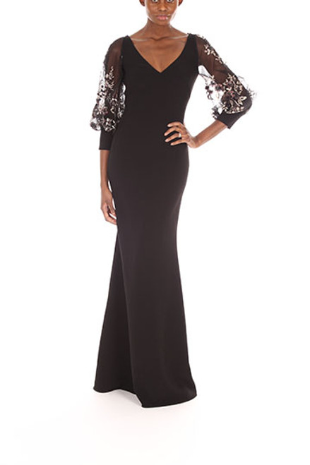Black Multi Embroidered Sequin Bubble Sleeve Front