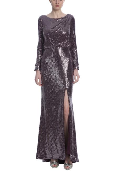 Plum Sequin Asymmetrical Back Cut Out Gown Front