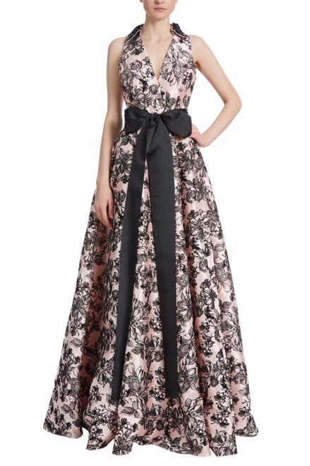 Blush Black Halter Shirt Dress Gown Front