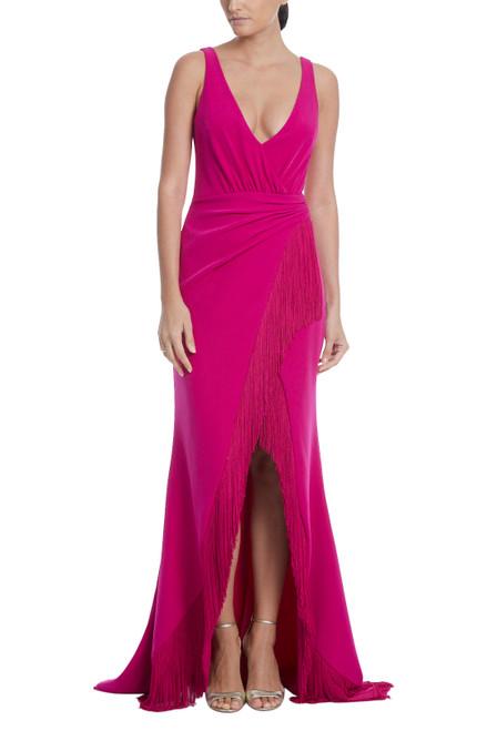 Hot Fuchsia Fringe Ruffle Gown
