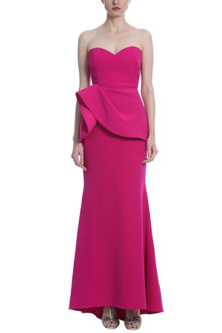 Fuchsia Asymmetrical Peplum Dress Front
