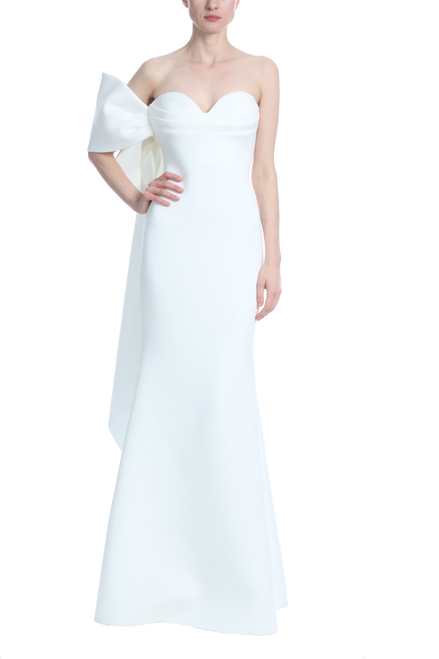 Light Ivory Asymmetrical Bow Gown Front