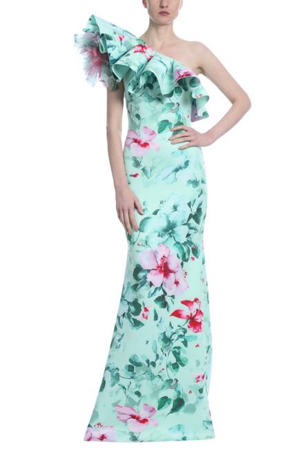 Mint Multi Runway Tropical Print Scuba Gown Front