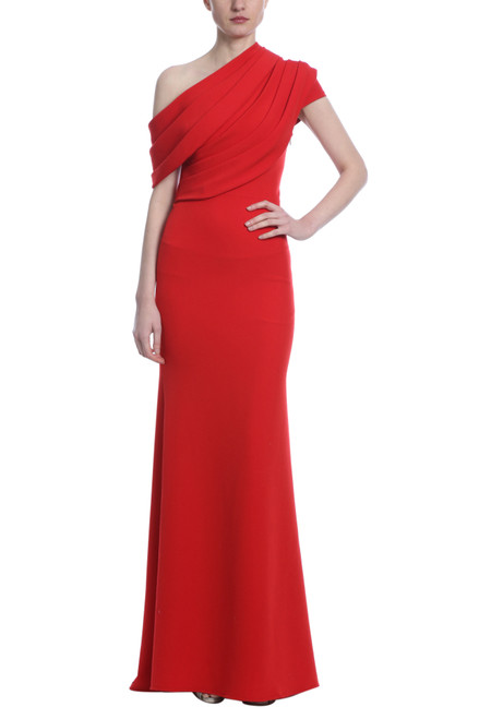 Sriracha Asymmetrical Solid Gown Front