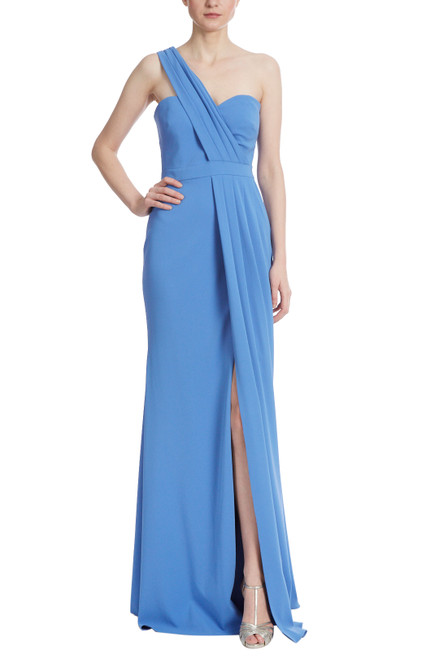Dark Sapphire One Shoulder Rouched Asymmetrical Gown Front