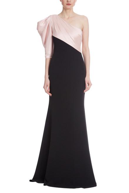 Black Blush Asymmetrical Drape Two Tone Gown Front