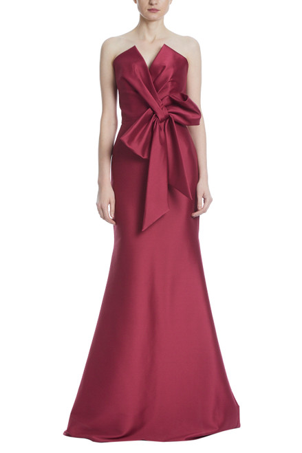 Burgundy Strapless Bow Front Gown Front