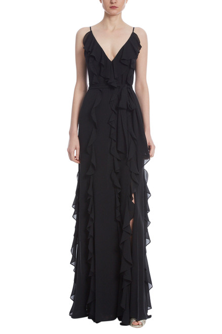 Black Ruffle Georgette Gown Front