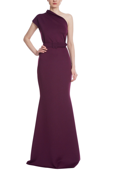 Plum Asymmetrical High Neck Fitted Gown Front