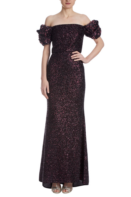 Black Burgundy Sequin Origami Sleeve Gown Front