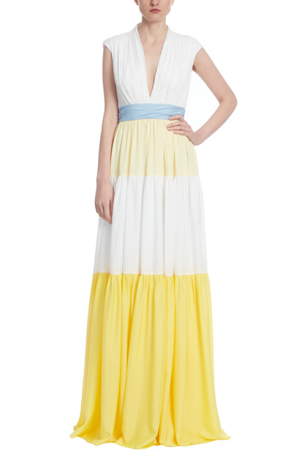 Light Yellow Ivory Sleeveless Tiered Gown Front