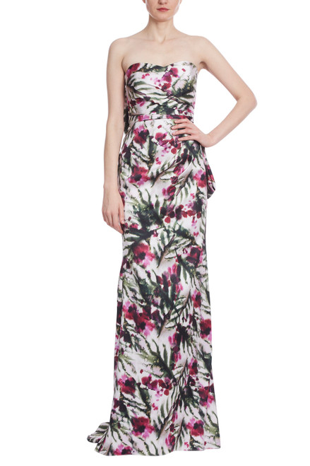 Lt Ivory/Raspberry Strapless Floral Print Bow Back Gown Front