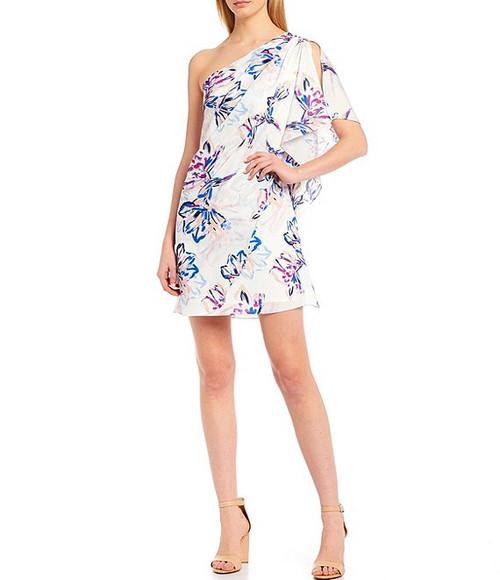 Ivory Multi Paloma Brushstroke Floral One Shoulder Dress Front