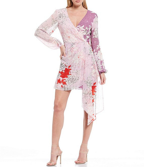 Lilac Multi Renee Combo Printed Floral Cocktail Dress Front
