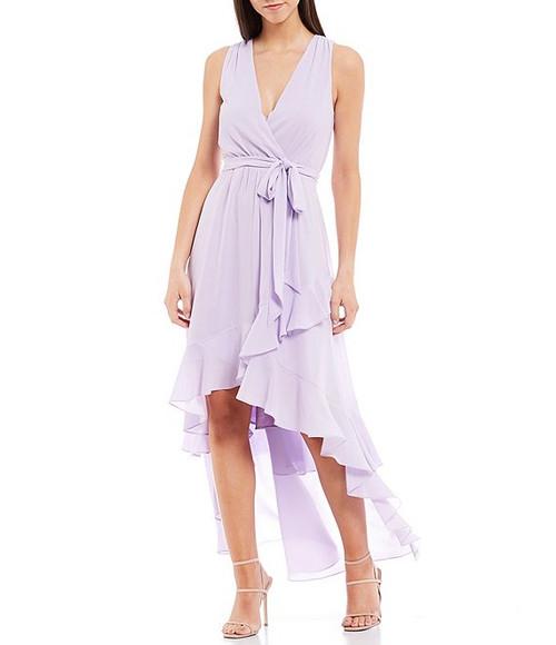 Lilac Nyla Sleeveless Ruffle Hi-Low Dress Front
