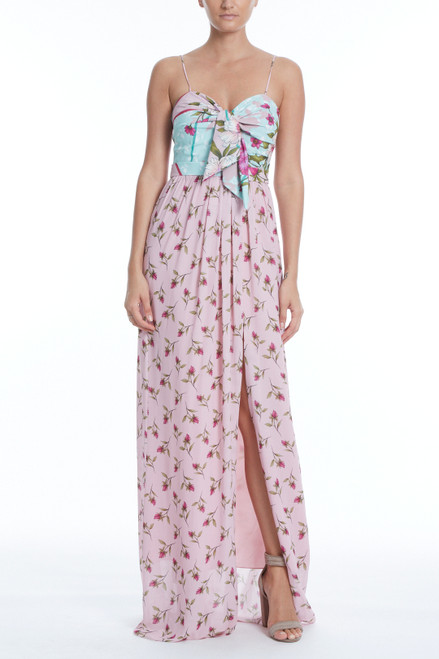 Pink Multi Ollie Combo Floral Maxi Gown Front