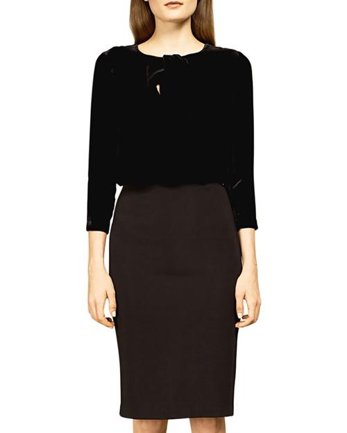 Black/Black Velveteen Combination Dress Front