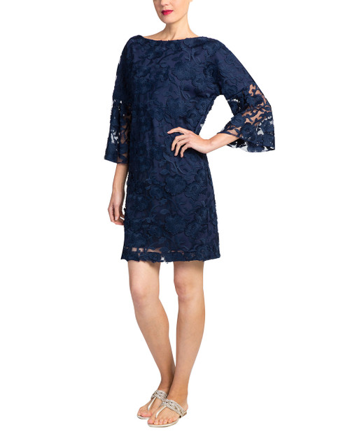 Navy Lace bell sleeve day dress