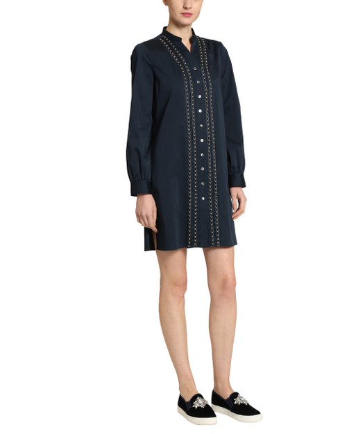 Navy Shirt Dress with Pearls front