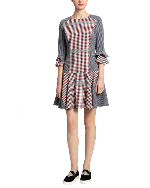 Navy Multi Plaid Day Dress front