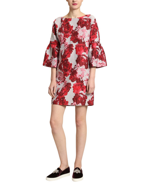 Red Multi Brocade Dress front
