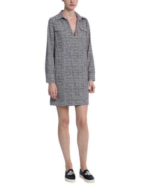 Black Multi Herringbone Print Long Sleeve Dress front