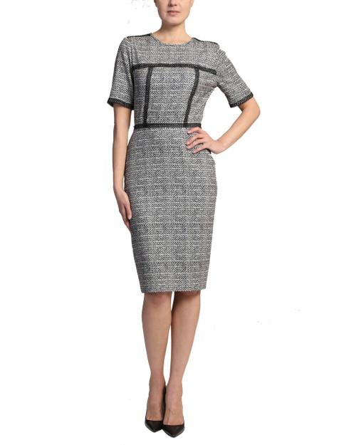 Black Multi Herringbone Print Dress front