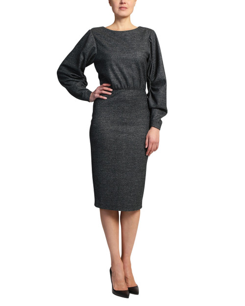 Charcoal Pleated Sleeve Dress front